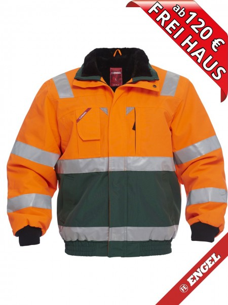 Warnschutz Winter Pilotjacke Jacke EN ISO FE ENGEL 1172-928 orange grün