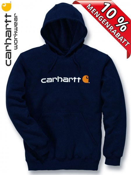 Carhartt Kapuzenpulli Logo Hooded Sweat Shirt Hoody Druck 100074 navy