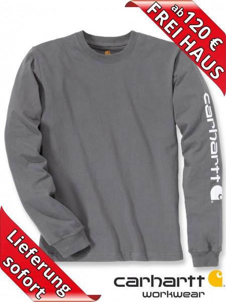 Carhartt T-Shirt langarm Logo Druck Long Sleeve EK231 charcoal grau