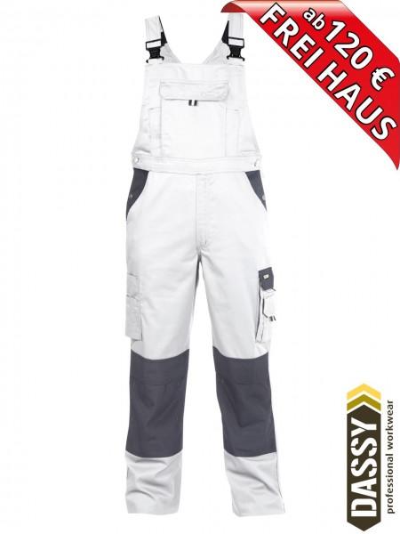 DASSY® Versailles Maler Latzhose mit Kniepolstertaschen 400124 zweifarbig weiss grau