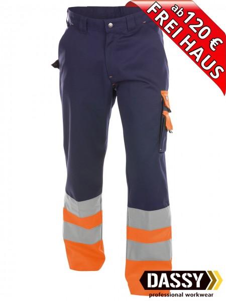 Warnschutz Bundhose Arbeitshose OMAHA DASSY 200620 blau/orange