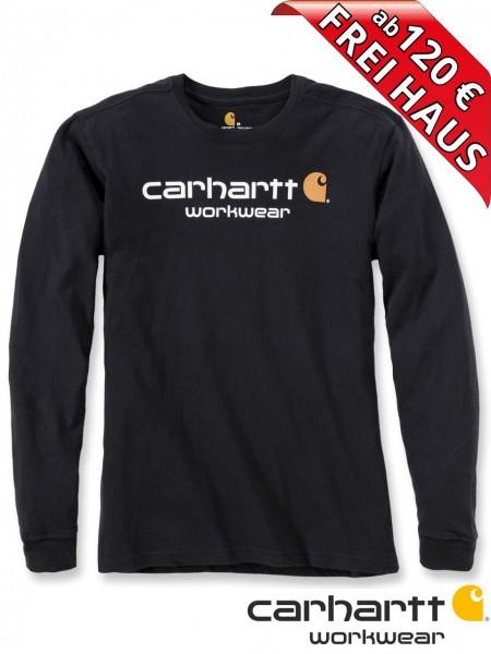 Carhartt T-Shirt langarm Core Logo Druck Long Sleeve 102564 schwarz