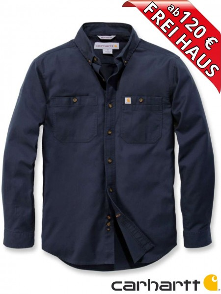 Carhartt Stretch Hemd langarm Rugged Flex Work Shirt 103554 navy blau