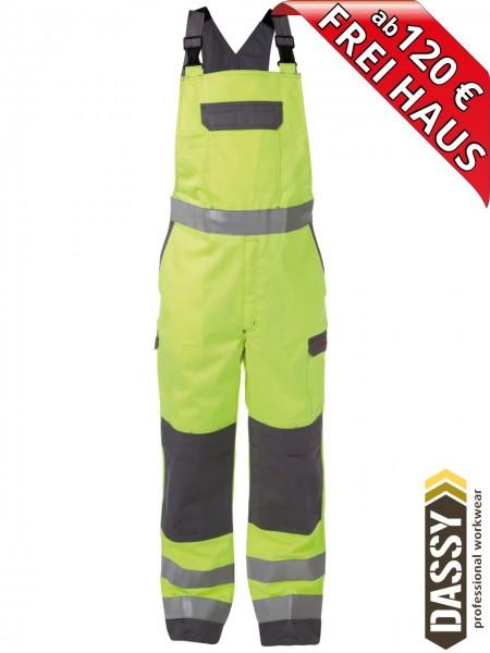 Multinorm Warnschutz Latzhose Kniepolster COLOMBIA DASSY 400141 gelb/grau