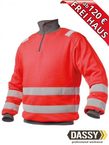 Warnschutz Zip Sweat Shirt DENVER DASSY 300376 rot/grau hoher Kragen