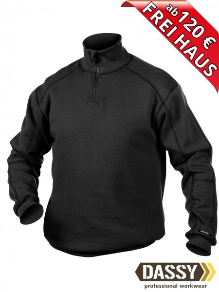 DASSY® Felix Zip Sweatshirt hoher Kragen Reißverschluss 300270 schwarz