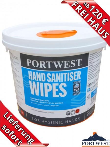 Desinfektionstücher 225 Stück im Eimer Hand Wipes WIW40 Portwest