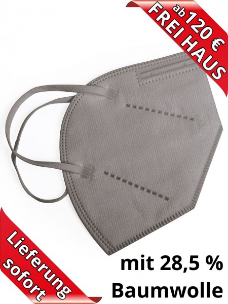 Atemschutzmaske FFP2 NR Einweg ohne Ventil Baumwolle in grau CE2834