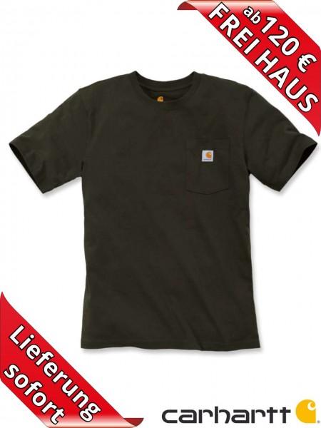 Carhartt schweres workwear T-Shirt Pocket Brusttasche 103296 peat torfbraun