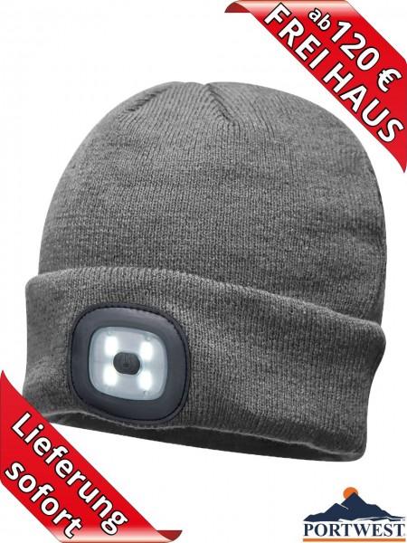 Portwest Winter Mütze Beanie LED Licht wiederaufladbar Strickmütze grau