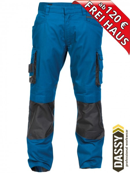 Arbeitshose Bundhose DASSY® Nova Kniepolster D-FX 200846 azurblau