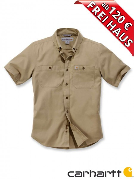 Carhartt Stretch Hemd kurzarm Rugged Flex Work Shirt 103555 khaki beige