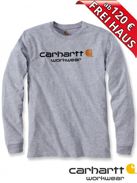 Carhartt T-Shirt langarm Core Logo Druck Long Sleeve 102564 heather grau