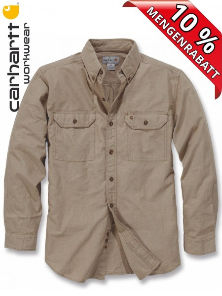 Carhartt Hemd langarm Fort Solid Long Sleeve Shirt S202 beige