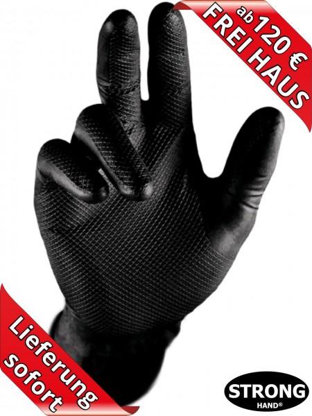 Stronghand Nitril Einweghandschuhe GRIP schwarz Waffelmuster 0422