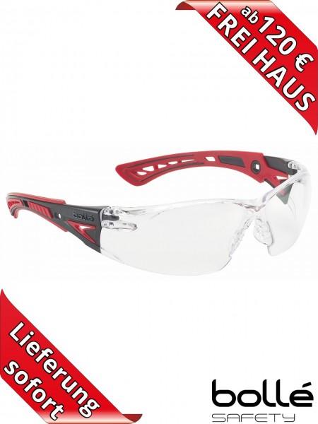 Bollé Safety Schutzbrille RUSH+ RUSHPPSI Klar PLATINUM Beschichtung rot