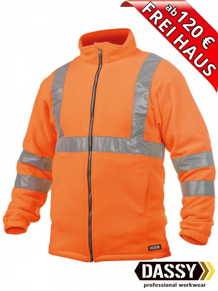 Warnschutz Fleece Jacke KALUGA DASSY 300247 orange EN ISO 20471